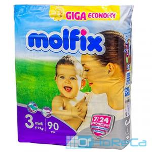 Подгузники детские   4-9кг 90 шт/уп MOLFIX MIDI GIGA   ''HAYAT''   1/100