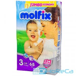 Подгузники детские   4-9кг 68 шт/уп MOLFIX MIDI JUMBO   ''HAYAT''   1/150